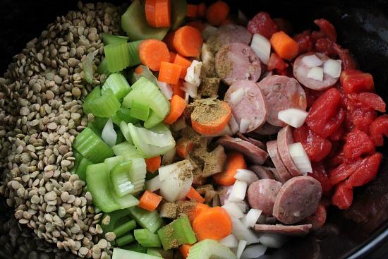Easy Crock Pot Recipes - Sausage Lentil Soup