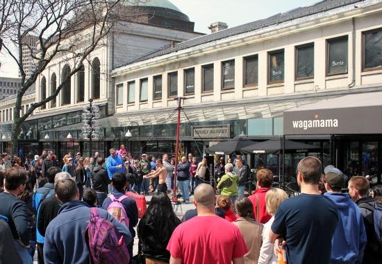 Faneuil Hall , street performer,  Boston, Massachusetts