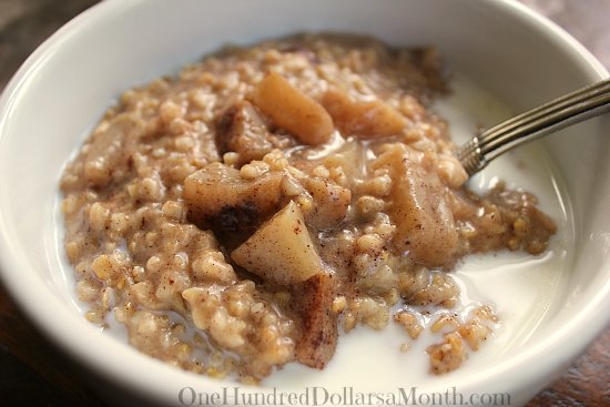 Crock Pot Steel Cut Oatmeal with Apples and Brown Sugar