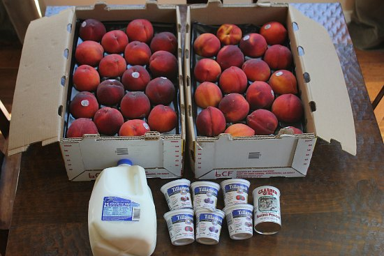 Peaches sold by the case