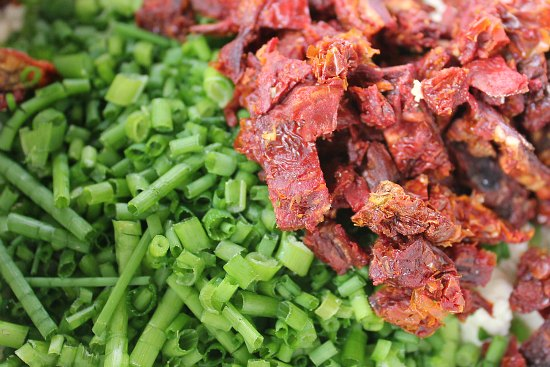 sun dried tomatoes and chives