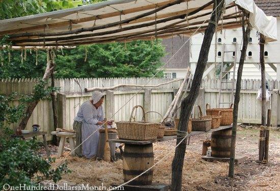 basket weaving Colonial Williamsburg, Va