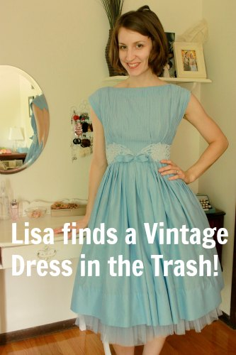 blue vintage dress 1950s