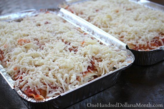 Freezer Meals Chicken and Spinach Lasagna
