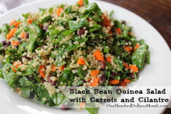 Black Bean Quinoa Salad with Carrots and Cilantro