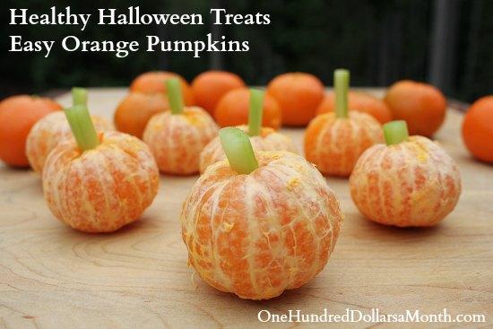 Healthy Halloween Treats: Easy Orange Pumpkins - One Hundred ...