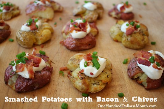 Smashed Potatoes with Bacon and Chives