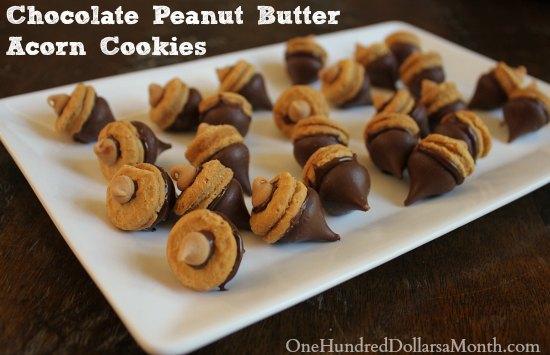 Chocolate Peanut Butter Acorn Cookies
