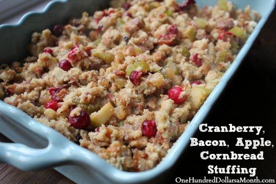 Cranberry Bacon Apple Cornbread Stuffing