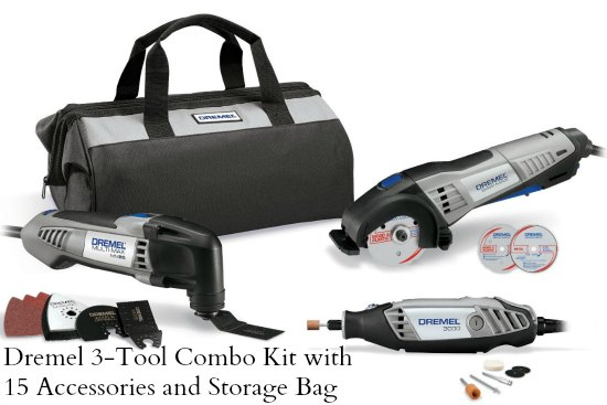 Dremel 3-Tool Combo Kit with 15 Accessories and Storage Bag