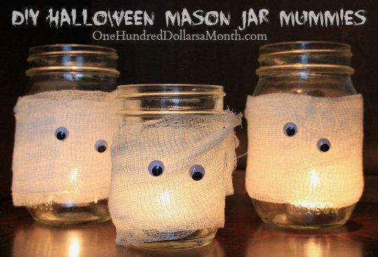 DIY Halloween Mason Jar Mummies One Hundred Dollars A Month - Best diy mason jar halloween crafts ideas