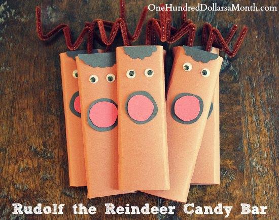 easy kids christmas candy craft ideas rudolf the reindeer candy bar