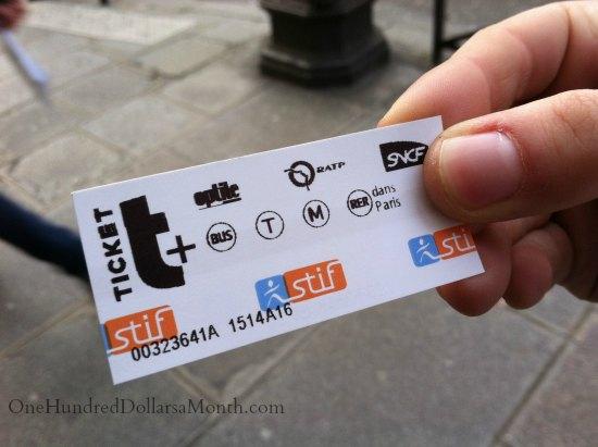 paris metro ticket stub