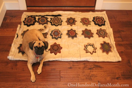 primitive hooked rug lucy the puggle dog