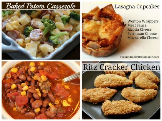 weekly menu plan main dish recipes