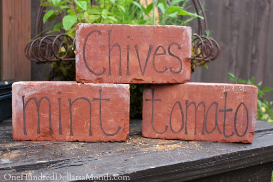 DIY Garden Markers Using Bricks One Hundred Dollars a Month