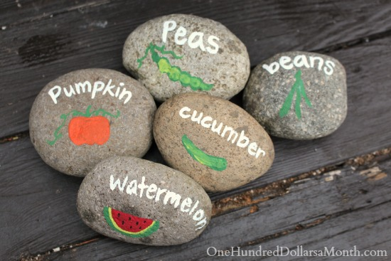 DIY Garden Markers Using Painted Rocks