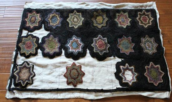 primitive star hooked rug