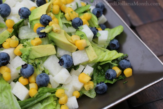 Roasted Corn Salad with Blueberries, Jicama and Avocado
