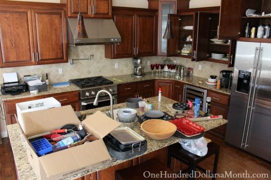 messy kitchen moving packing up stuff