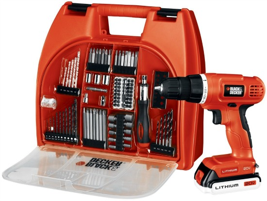 Black & Decker 20-Volt Lithium-Ion Drill Kit with 100 Accessories