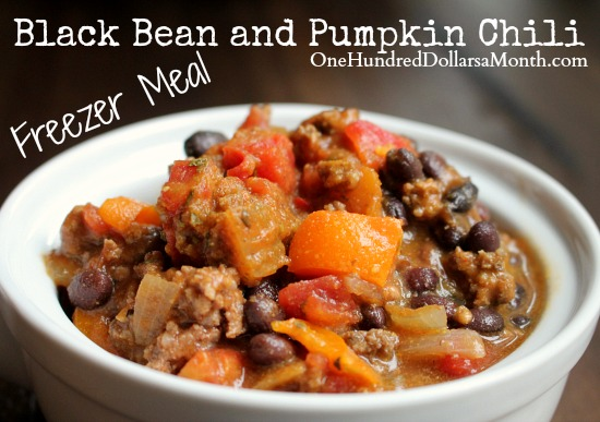 Freezer Meal - Black Bean and Pumpkin Chili