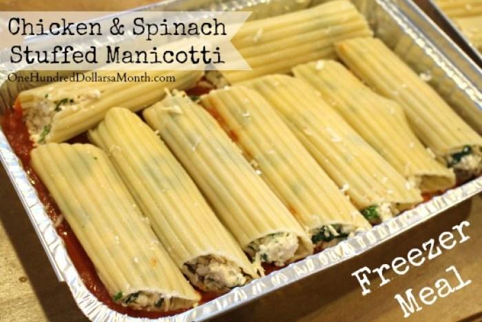 Freezer Meal - Chicken and Spinach Stuffed Manicotti