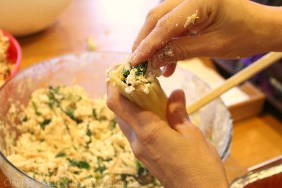 stuffing manicotti shells