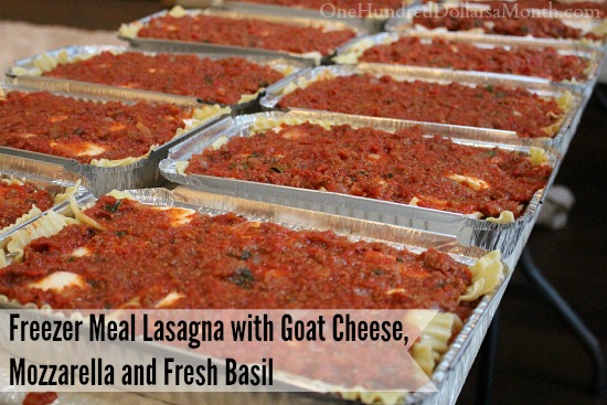Freezer Meal Lasagna with Goat Cheese, Mozzarella and Fresh Basil