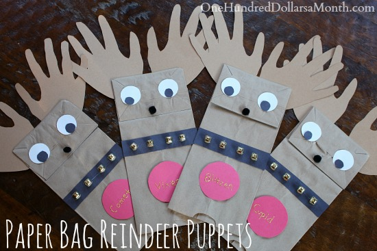 Easy Christmas Crafts For Kids Paper Bag Reindeer Puppets One