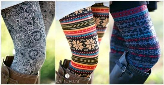 fur lined lprint leggings