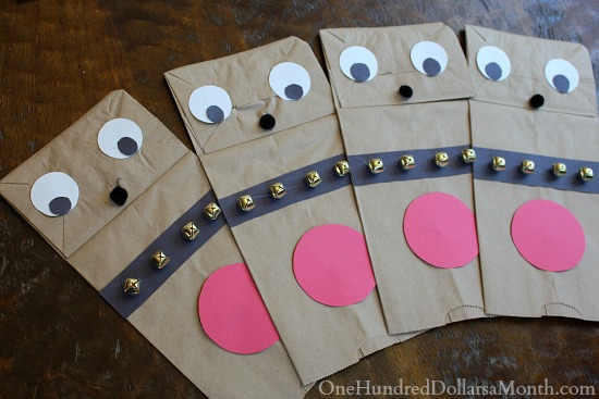 how to make Paper Bag Reindeer Puppet