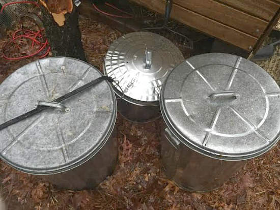 small galvanized trash cans