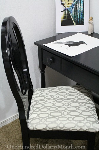 reupholstered chair grey white black