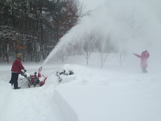 snow blower in driveway