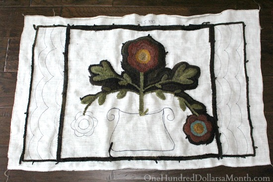 primitive hooked flower pot rug