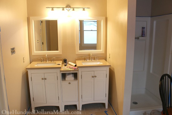 white tan master bathroom