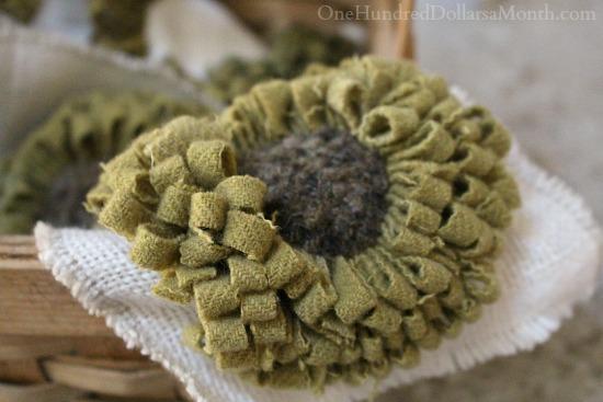 hooked rug sunflowers