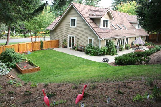 backyard garden with raised garden boxes