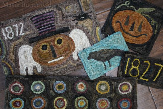 halloween primitive hooked rugs