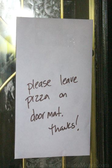 please leave pizza on doormat