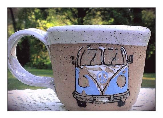 Hand Painted Hippie Van Pottery Mug