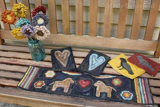 primitive hooked rug horse