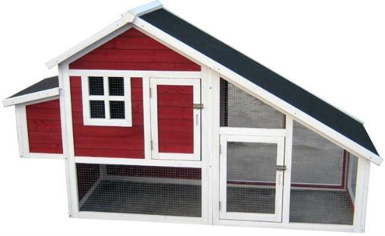 red chicken coop