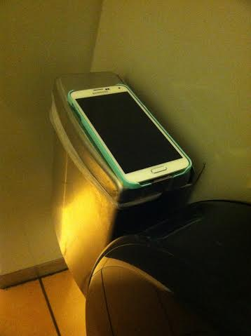 cell phone in the bathroom
