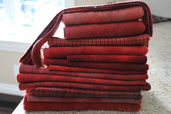 barn red rug hooking wool bundle