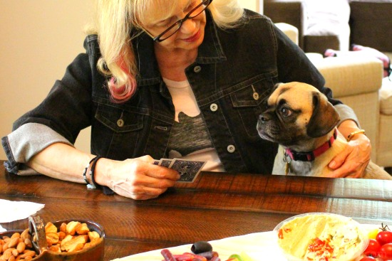 lucy the puggle dog playing cards