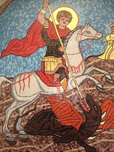 Images of Saint George slaying the dragon can be found all over this area