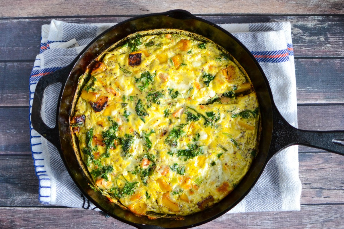 Healthy Frittata with Salmon and Winter Vegetables