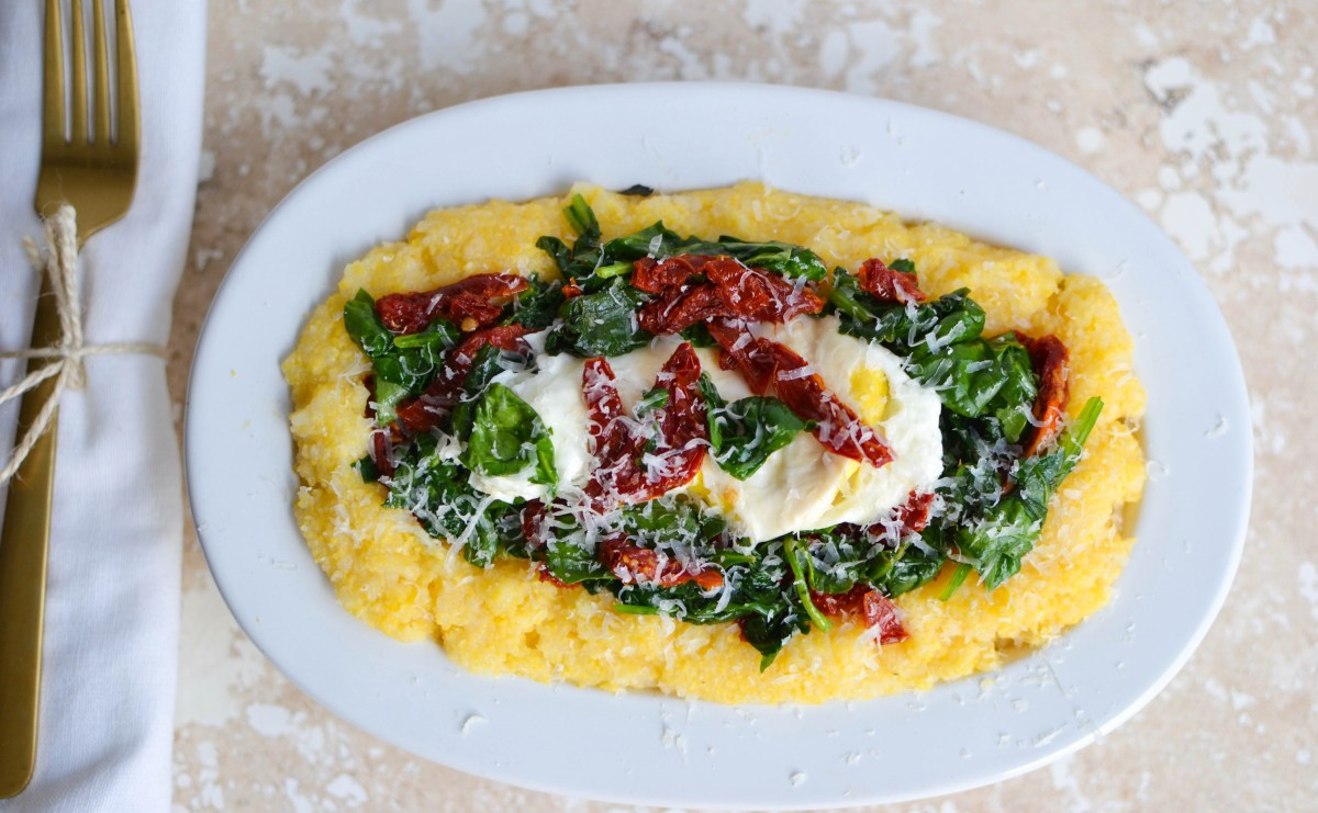Savory Cheesy Breakfast Polenta with Tomatoes and Spinach